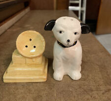 Vintage Black & White Dog with Phonograph Player Salt & Pepper Shaker Set
