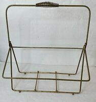 MCM LP Record Album Holder With Carrying Handle Gold Metal Floor