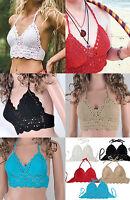 New Women Crochet Lace Bralette Knit Bra Boho Beach Bikini Halter Tank Crop Top