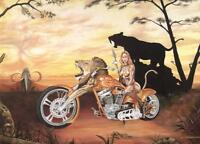 Original Motorcycle Oil Painting Lady Biker Surreal Chopper Fantasy Art by JohnG
