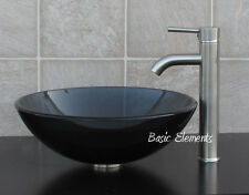 Bathroom Clear Black Glass Vessel Vanity Sink With Brushed Nickel Faucet 12.5N03
