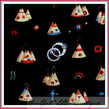 BonEful Fabric FQ Cotton Quilt Black Red VTG Indian Tent TeePee South*west Print