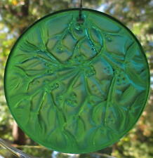 LALIQUE Crystal Christmas Ornament Noel 1990 Deep Green Mistletoe With Stand