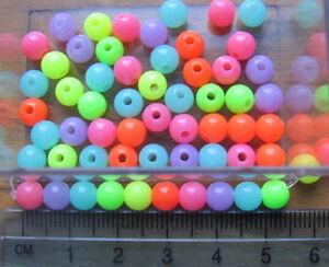 150 round 6mm smooth bright neon plastic acrylic beads fluoro dayglo fluorescent