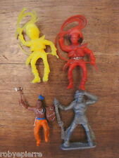 4 soldatini vintage plastica toy soldiers cowboy indiani cowboys western indiano