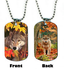 DOG TAG NECKLACE -  Wolf 1 Autumn Fall spiritual native mystical wolves magical