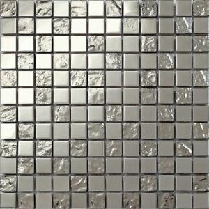 Silber Edelstahl und texturiert Glas Mosaik Fliesen Matte (MT0129)