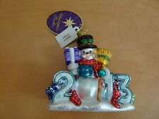 "Christopher Radko ""2013 Here's to the Year"" Snowman Christmas Ornament 5""H"