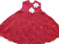 Crochet Dress for Baby Preemie Reborn Doll OOAK in Red  & white flower