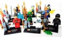 Ninjago Mini Figures Building Zane Lloyd Kai Cole Master Wu uncle Samurai x 8