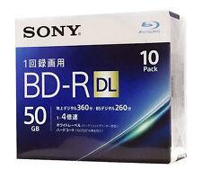 10 Sony Bluray 3D Bluray 4x Speed BD-R DL 50GB Inkjet Printable Sealed Discs