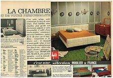 A- Publicité Advertising 1965 (2 pages) Meubles lit Mobilier de France
