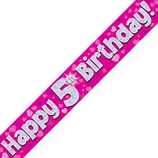 Pink Happy 5th Birthday Foil Party Banner Decoration | Hearts Holographic Age 5