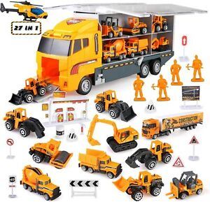 BeebeeRun 27 in 1 Carrier Construction Truck Toddler Car Toys Kids Boys and Girl