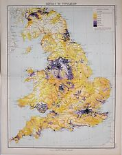 1897 ANTIQUE VICTORIAN MAP ENGLAND & WALES DENSITY OF POPULATION LONDON GLASGOW