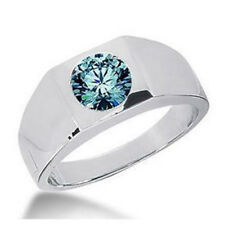 Herren Diamant Brillant Ring 1.60 ct blauer Diamant 14K 18K Gold + Zertifikat