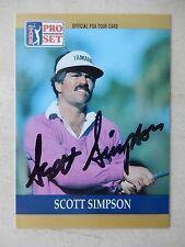 Scott Simpson Autographed 1990 Pro Set Golf Card