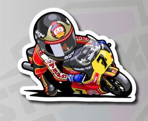 Barry Sheene #7 Cartoon Racer Motorcycle Sticker Decal - 120mm