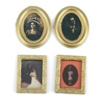 4pcs Vintage Photos Painting Mural Wall Picture For 1:12 Miniatur H6A3 Doll Q6E9