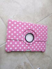 "Samsung Galaxy Tab 2 10"" Leather Tablet 360 Rotating PINK w/White dot Case Cover"