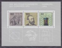Germany 1420 MNH OG 1984 UPU Congress Souvenir Sheet of 3