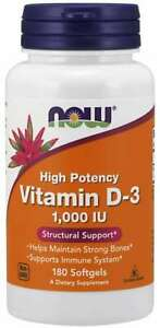 Vitamin D3 2000IU 120 Softgels Now Dietary Supplement Immune system Health Bones