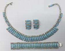 VTG Signed Kramer Thermoset Plastic Rhinestone Necklace Bracelet Earrings 4p Set
