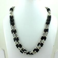 NATURAL BLACK ONYX GEMSTONE BEAUTIFUL 4 MM BEADED NECKLACE 65 GRAMS