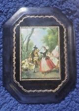 Vintage BLK Leather over Wood Italian Florentine French Colonial Scene Plaque