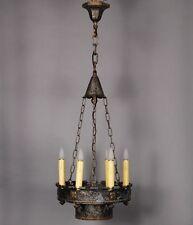 1920's Spanish Revival Antique 6 Light Narrow Chandelier Vintage Tudor (10008)