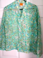 RUBY RD. LADIES SIZE 14 SEMI-SHEER L. SLEEVE FRONT BUTTON BLOUSE-AQUA/YELLOW-EUC
