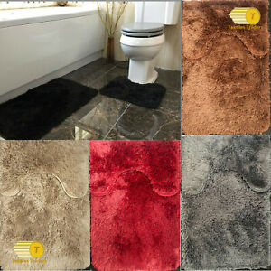 2pc Luxury Soft Non-Slip Bathroom Plush Shaggy Bath Mat Set & Pedestal Rug Set