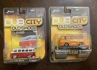 Jada Dub City Old Skool Lot of 2: '65 Ford Econoline Van & '62 VW Bus