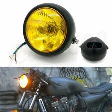 "6.5"" 12V Amber Glass Motorcycle Headlight Spot Fog Light High/Low Beam Universal"
