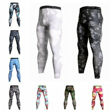 Mens Sports Cycling Compression Thermal Base Layer Tights Fitness Long Pants