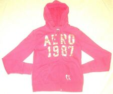 Aeropostale Hoodie Eighty Seven Embroidered Pink Silver Sweater Womens Size S/P