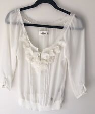 Abercrombie And Fitch Girls Ivory With Flowers  Fancy Shirt Kids Size XL New