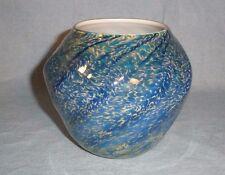 Hand Blown Art Glass Vase Pot Swirl Blue Gold Signed Etched Rough Pontil