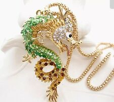 Betsey Johnson Necklace DRAGON CHINESE Green Gold Enamel Crystals