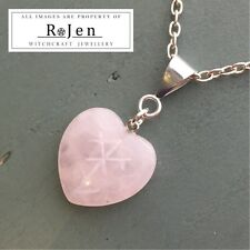 Hand Engraved PROTECTION OF THE HEART Rose Quartz Nordic Stave Rune Sigil Wicca