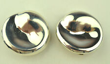 Round Modernist Clip Earrings Vintage Mexican Sterling Silver Large
