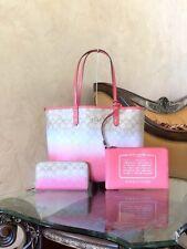 Coach F40027 Light Khaki Ombre Pink Signature Accordion Zip Around Wallet