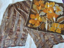 Silk Scarf Lot ECHO Vintage Paisley floral Golden yellow Copper
