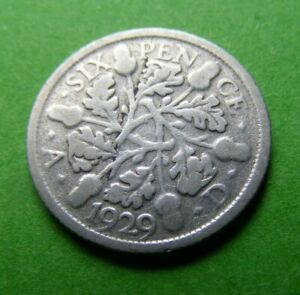 Silver 1929 Sixpence Coin With Error Great Britain Old British 6d