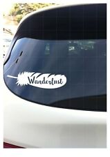"Wanderlust Feather White Vinyl 8"" Vehicle Car Boho Decal Quote Travel"