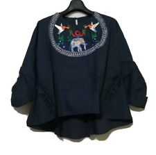Navy Blue Embroidered Flare Top- scrunch sleeves