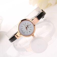 Ladies Rose Gold Quartz Slim Black Leather Bracelet Wrist Watch.(Aussie Seller)
