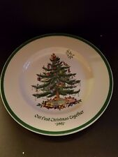 "Spode Christmas Tree plates our first Christmas together 1991 England 10 1/2 """