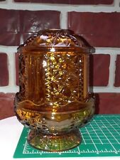 vintage cut glass, amber glass fairy lamp candle holder 2 piece