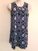 Bobbie Brooks Black Blue Geometric Tie Dye Sleeveless Short Dress Plus Size 1X